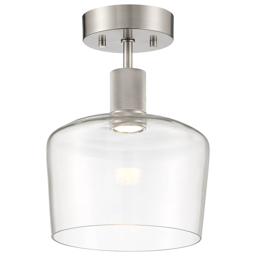 Access Lighting Port 9 Chardonnay LED Semi-Flush in Brushed Steel