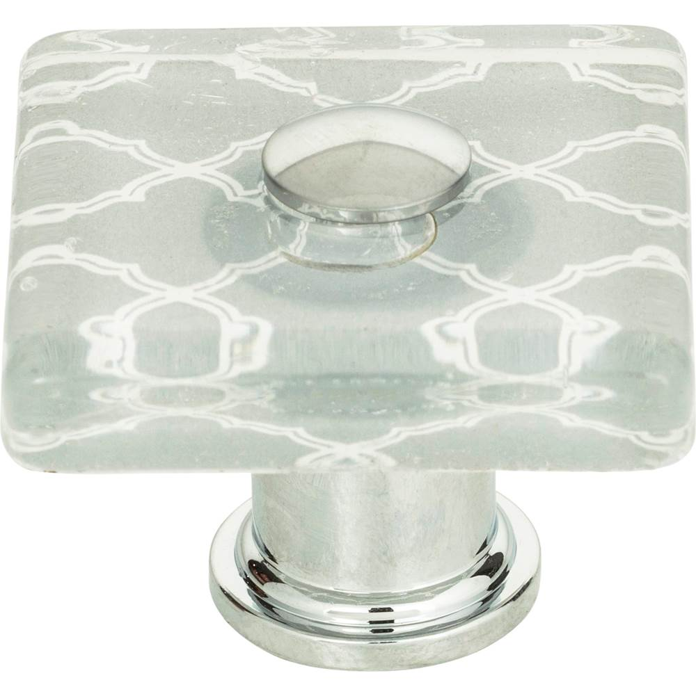 Atlas Quatrefoil Glass Square Knob 1 1/2 Inch Polished Chrome