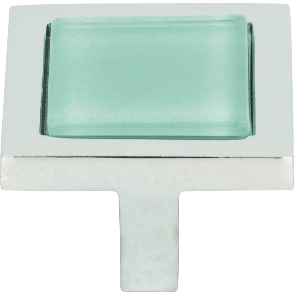 Atlas Spa Green Square Knob 1 3/8 Inch Polished Chrome
