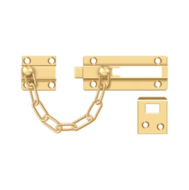 Deltana Deadbolt Chain Door Guard, PVD Polished Brass