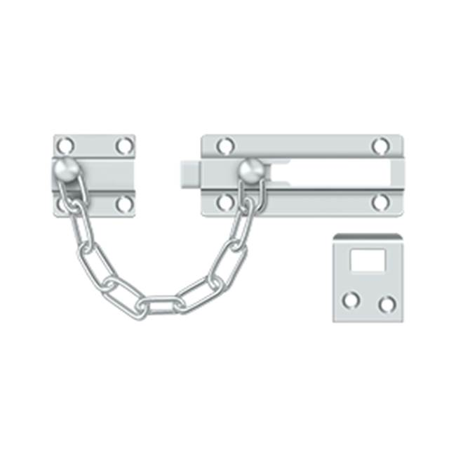 Deltana Deadbolt Chain Door Guard, Polished Chrome