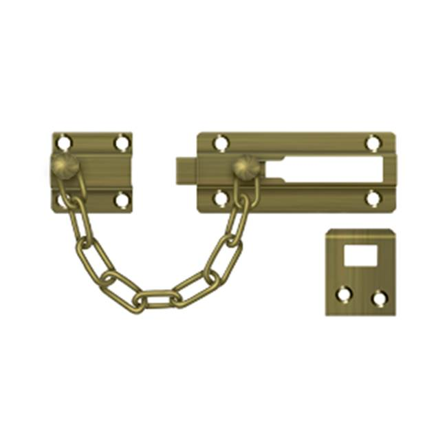 Deltana Deadbolt Chain Door Guard, Antique Brass