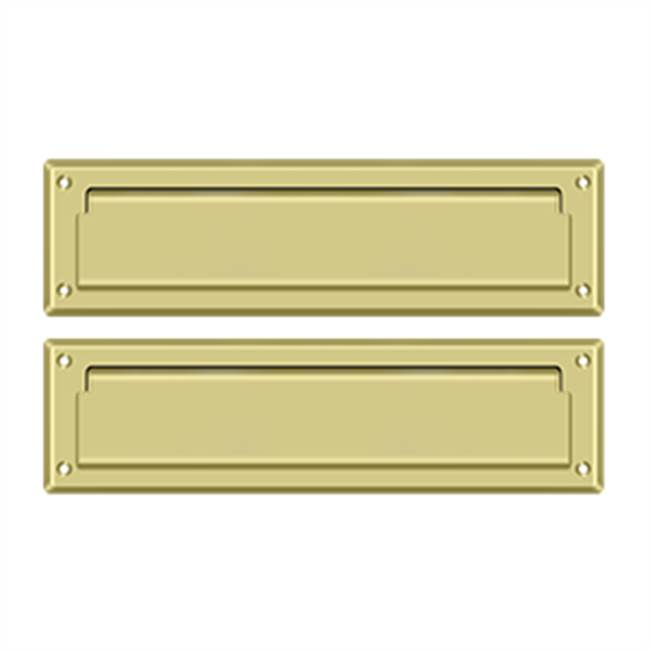 Deltana Mail Slot Sb 2 1/4 X 11, Polished Brass W/ Flap Int Plate