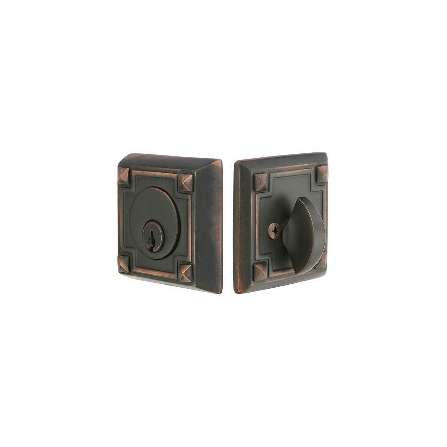 Emtek Arts & Crafts Deadbolt, Sgl, US3Nl