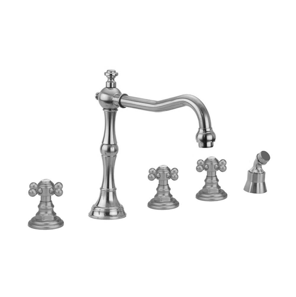 Jaclo Roaring 20''s Roman Tub Set with Ball Cross Handles and Angled Handshower Mount