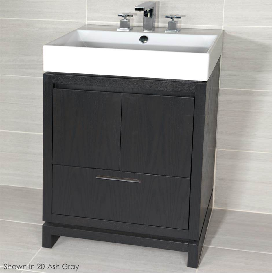 Lacava Free-standing under-counter vanity with finger pulls across top doors and polished chrome pull across bottom drawer. Bathroom Sink # 5231 sold separ