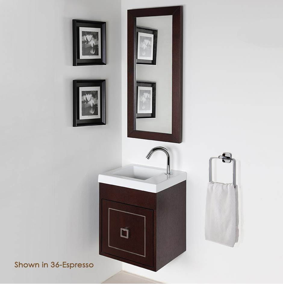Lacava Wall-mount under-counter vanity with one optional metal inlay door. Bathroom Sink 5271 sold separately. W: 15 3/8'', D: 13 5/8'', H: 18''.