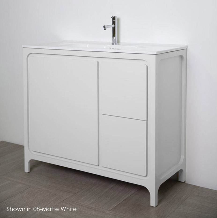 Lacava Free standing under counter vanity with routed finger pulls on two drawers and one door. Bathroom Sink sold separately.Multi-finish combinations are