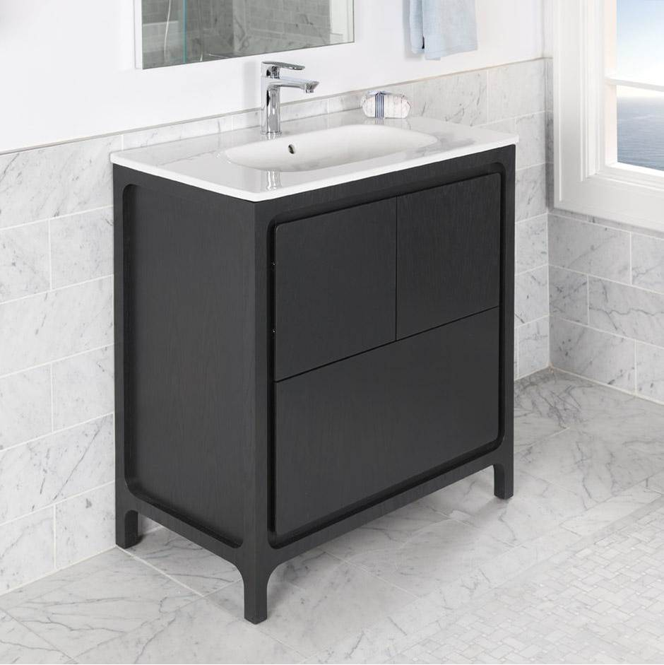 Lacava Free standing under counter vanity with routed finger pulls on two doors and one drawer. Bathroom Sink top sold separately. Multi finish combination