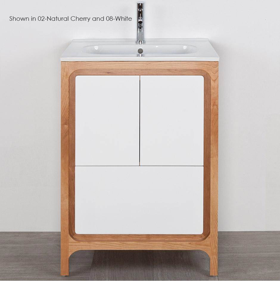 Lacava Free standing under counter vanity with routed finger pulls on two doors and one drawer. Bathroom Sink sold separately. Multi finish combinations ar