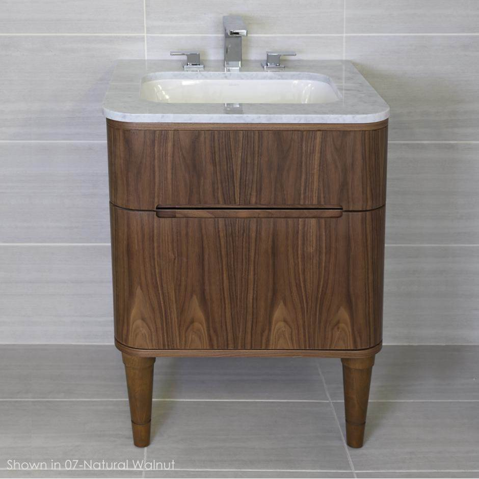 Lacava Wall-mount under counter vanity with a routed finger pull drawer. H27 LEG, H271T and H270 Bathroom Sink are all sold separately. W: 23 1/2'', D:21 3