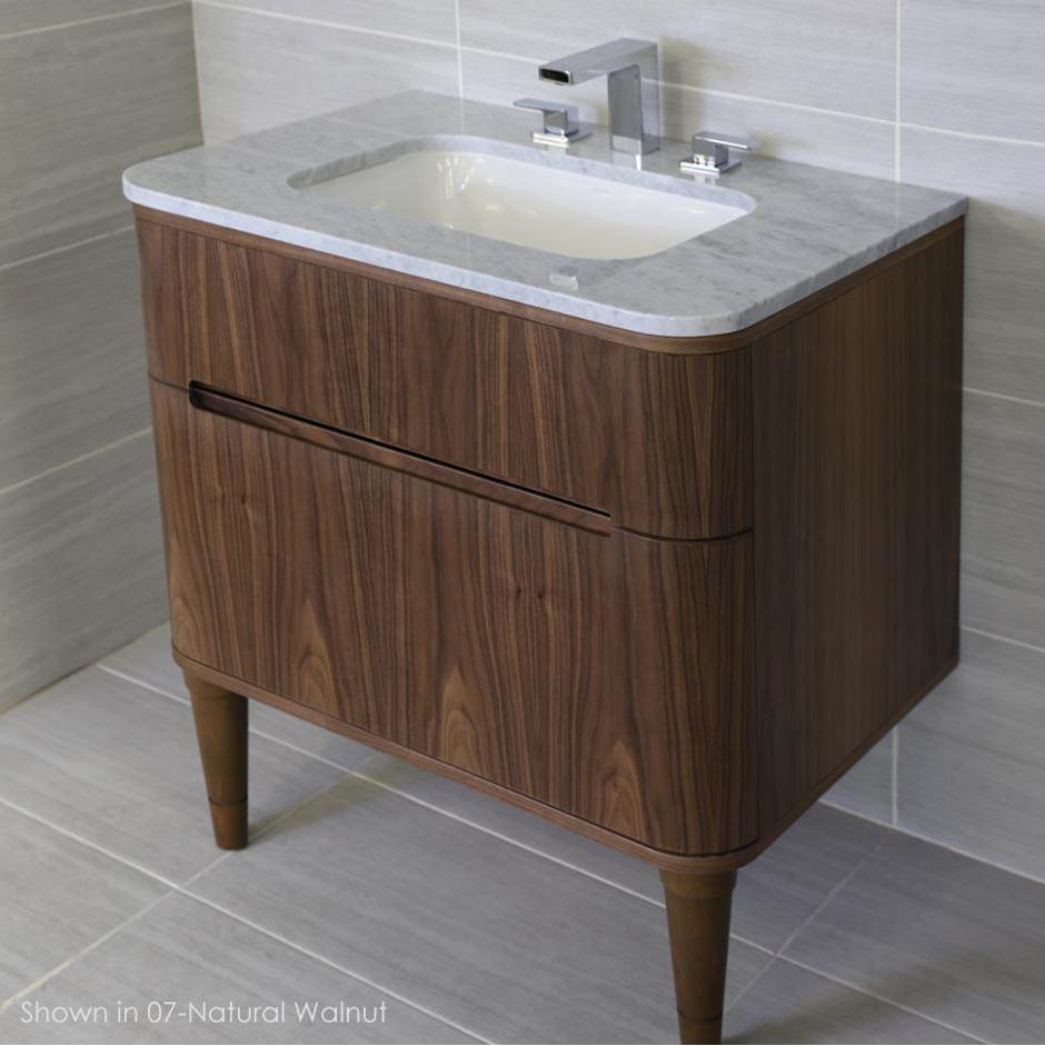 Lacava Wall-mount under counter vanity with a routed finger pull drawer. H27 LEG, H272T and H270 Bathroom Sink are all sold separately. W: 29 1/2'', D:21 3