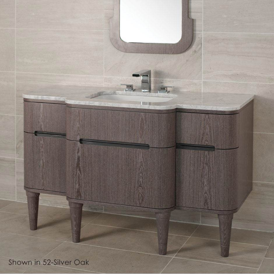 Lacava Wall-mount vanity with five drawers notched for finger-pulls. Bathroom Sink is on the center, H27 LEG, H274T and H270 Bathroom Sink are all sold sep