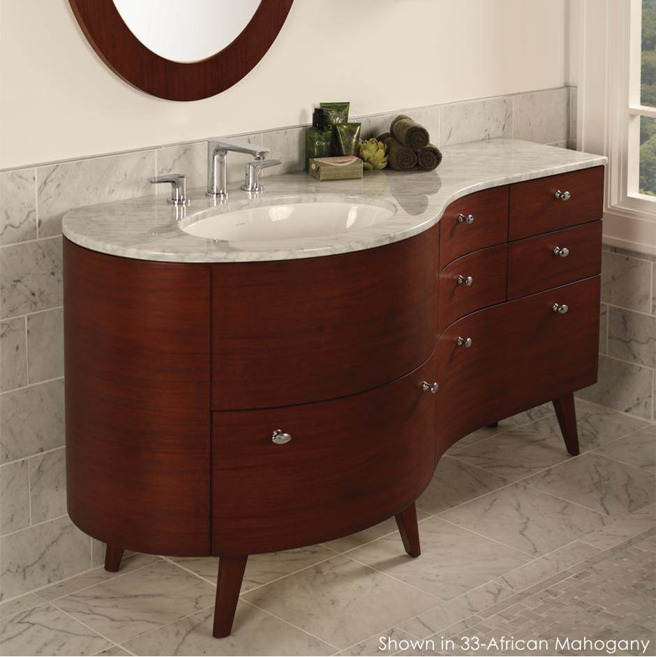 Lacava Free-standing under-counter vanity for one Bathroom Sink on the left, with four small drawers and two large bottom drawers, brushed nickel pulls inc
