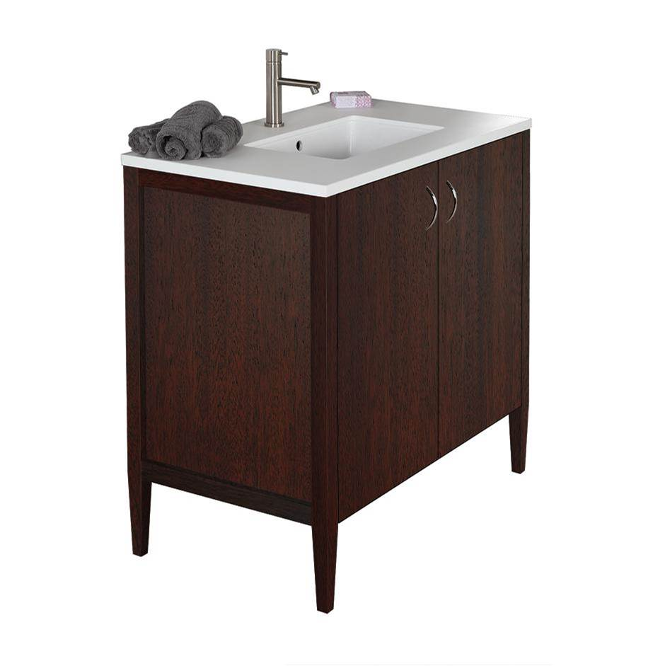 Lacava Free-standing under-counter vanity with two doors(pulls included). Counter top LRS-36T and Bathroom Sink 5062UN are sold separately. W: 35 1/2'', D: