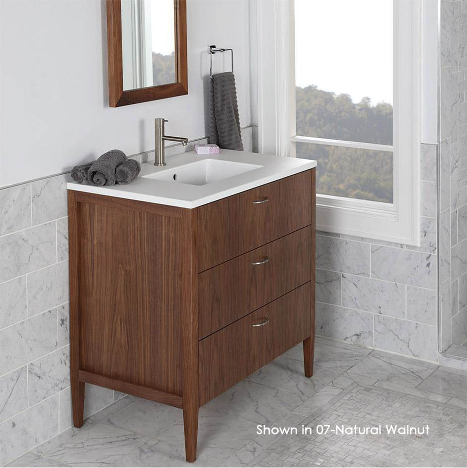 Lacava Free-standing under-counter vanity with two drawers(pulls included), the top drawer has U-shaped notch for plumbing.Counter top LRS-36T and Bathroom