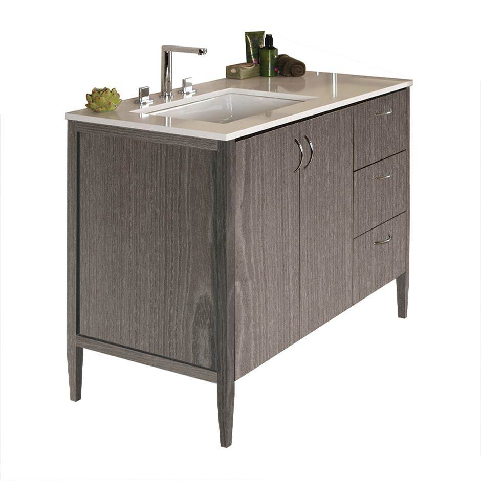 Lacava Free-standing under-counter vanity with two doors on the left an three drawers on the right(pulls included). Counter top LRS-48LT and Bathroom Sink