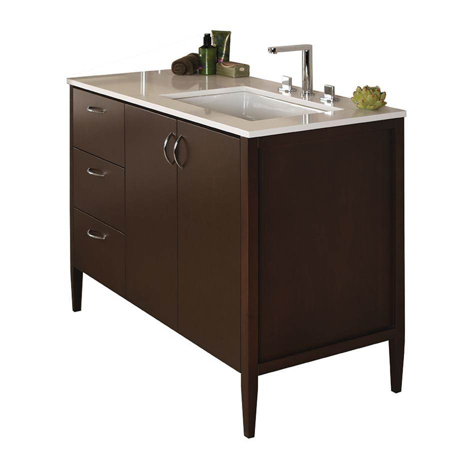 Lacava Free-standing under-counter vanity with three drawers on the left an two doors on the right(pulls included). Counter top LRS-48RT and Bathroom Sink