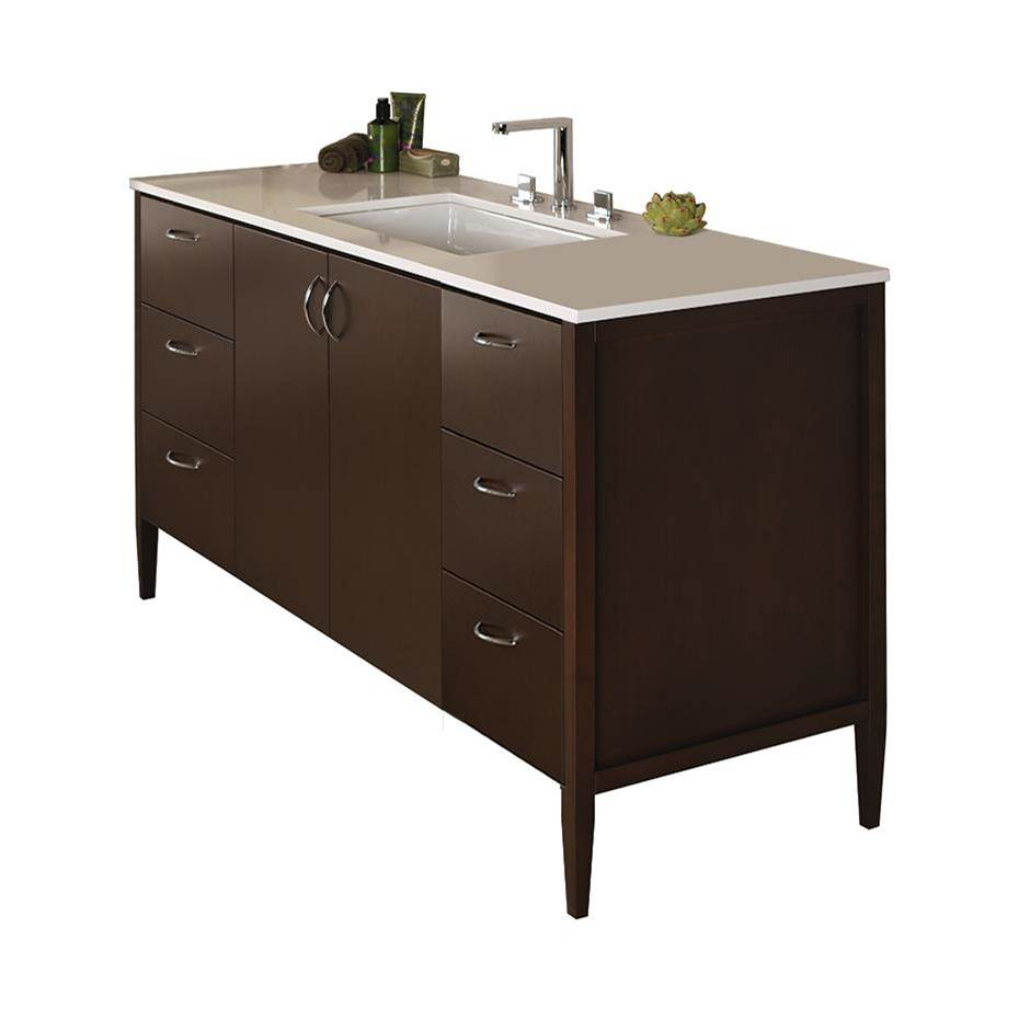 Lacava Free-standing under-counter vanity with three drawers on both sides and two doors on the center(pulls included). Counter top LRS-60BT and Bathroom S