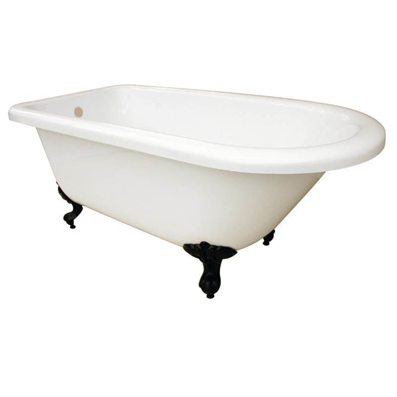 Maidstone 57 Inch Acrylic Roll Top Clawfoot Tub - No Drillings - Ball And Claw Feet