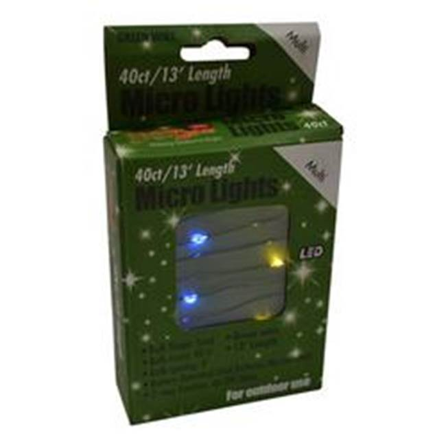 Miami Home Centers Holiday Bright Lights MIC-GRN-40-MU Battery-Operated Micro Light, Green Cord, 40-Lamp
