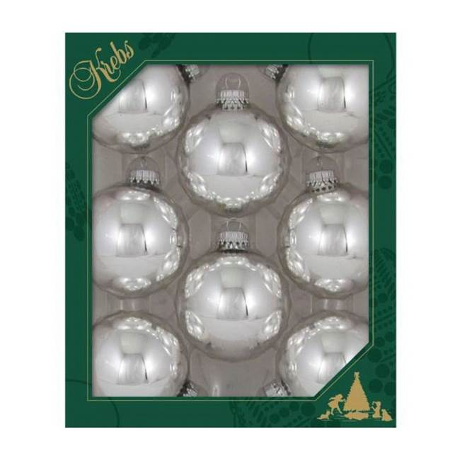 Miami Home Centers Krebs CBK70121 Christmas Ball Ornament with Silver Crown Cap, 8 Box