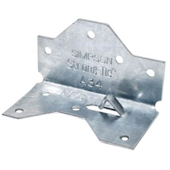 Simpson Strong-Tie Simpson Strong-Tie A34 Framing Angle, 18 ga, Steel, Galvanized