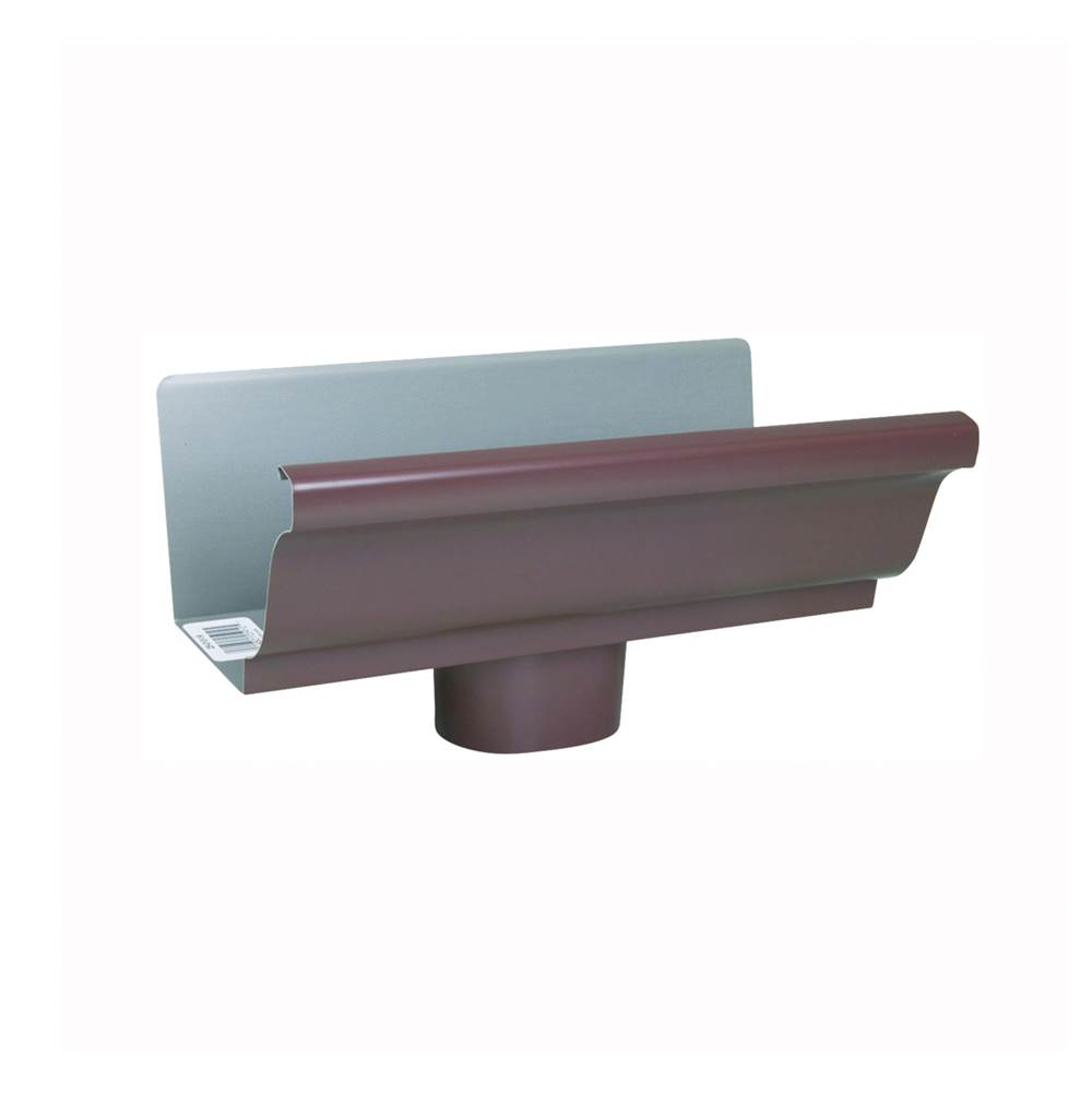 Amerimax Amerimax 2501019 Gutter End with Drop, Steel, Brown, for 5 in K-Style Gutter System