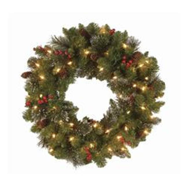 Miami Home Centers National Tree Crestwood CW7-306-24W Artificial Spruce Wreath, Incandescent Bulb, Clear Bulb