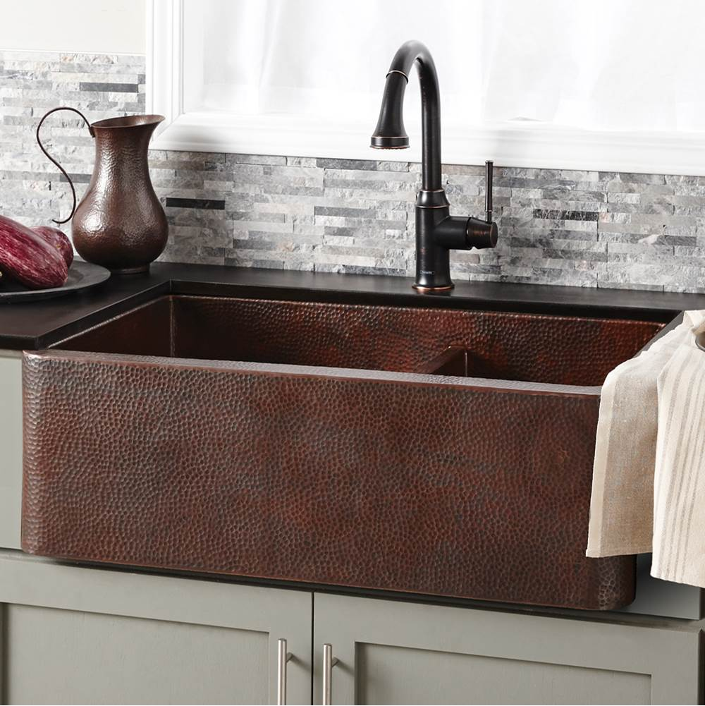 Native Trails Farmhouse Duet Kitchen SInk in Antique Copper