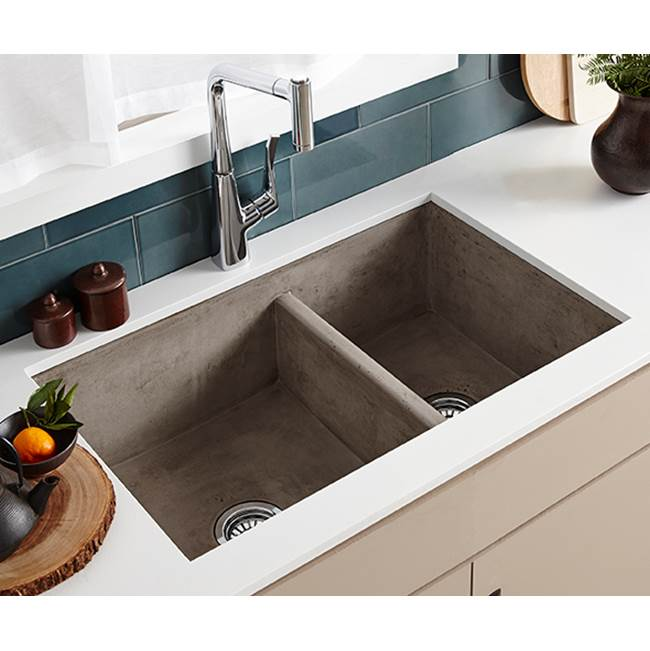 Native Trails Farmhouse Double Bowl Kitchen Sink in Ash