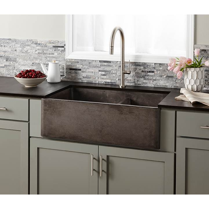 Native Trails Farmhouse Double Bowl Kitchen Sink in Slate