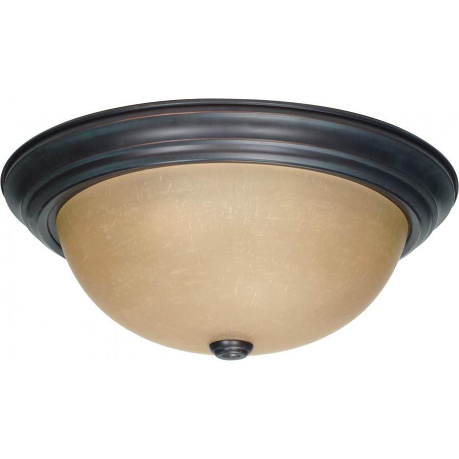 Nuvo 3 Light; 15 in.; Flush Mount with Champagne Linen Washed Glass
