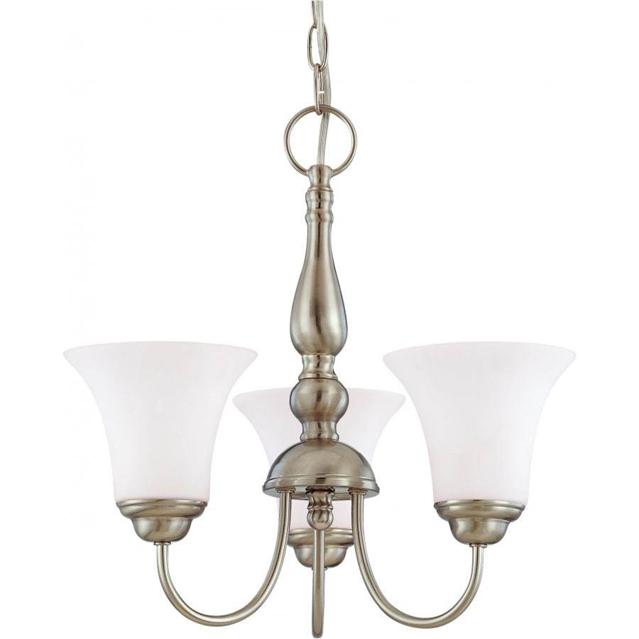 Nuvo Dupont; 3 Light; 16 in.; Chandelier with Satin White Glass