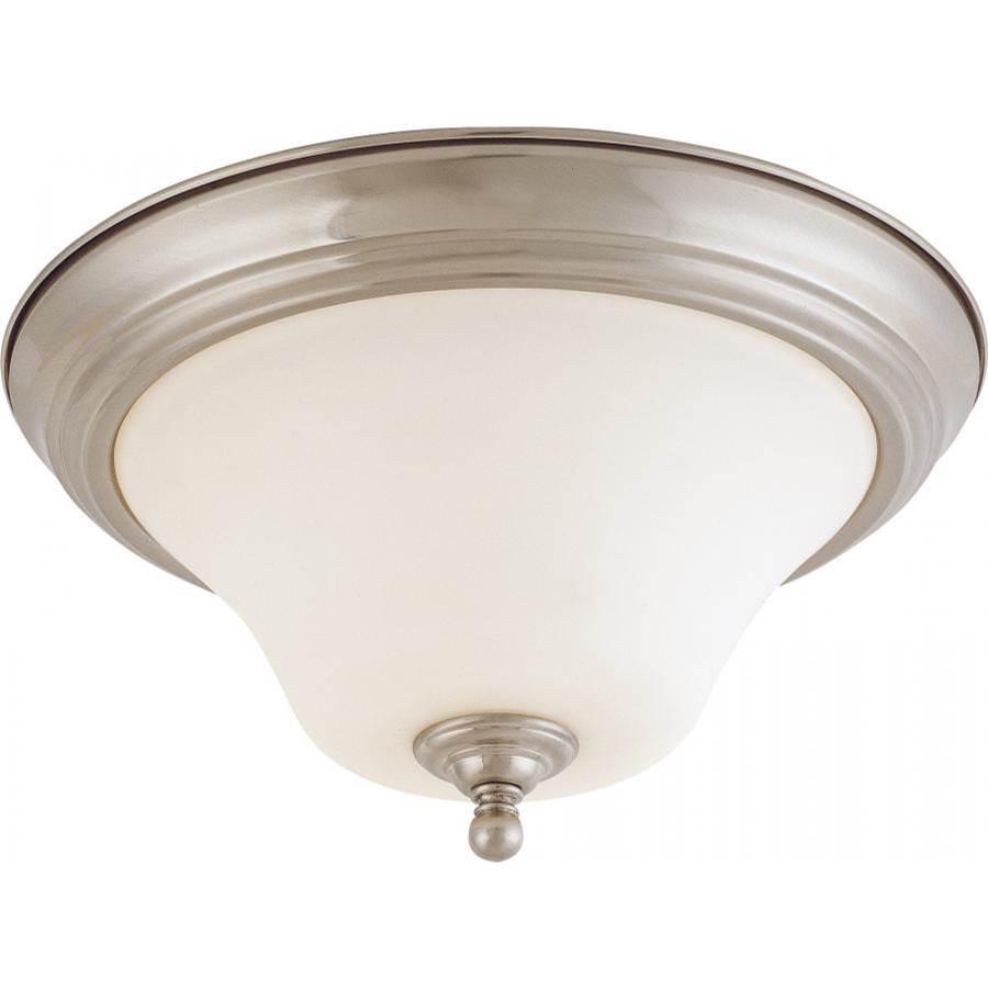 Nuvo Dupont; 2 Light; 13 in.; Flush Mount with Satin White Glass