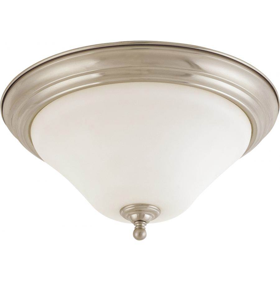 Nuvo Dupont; 2 Light; 15 in.; Flush Mount with Satin White Glass