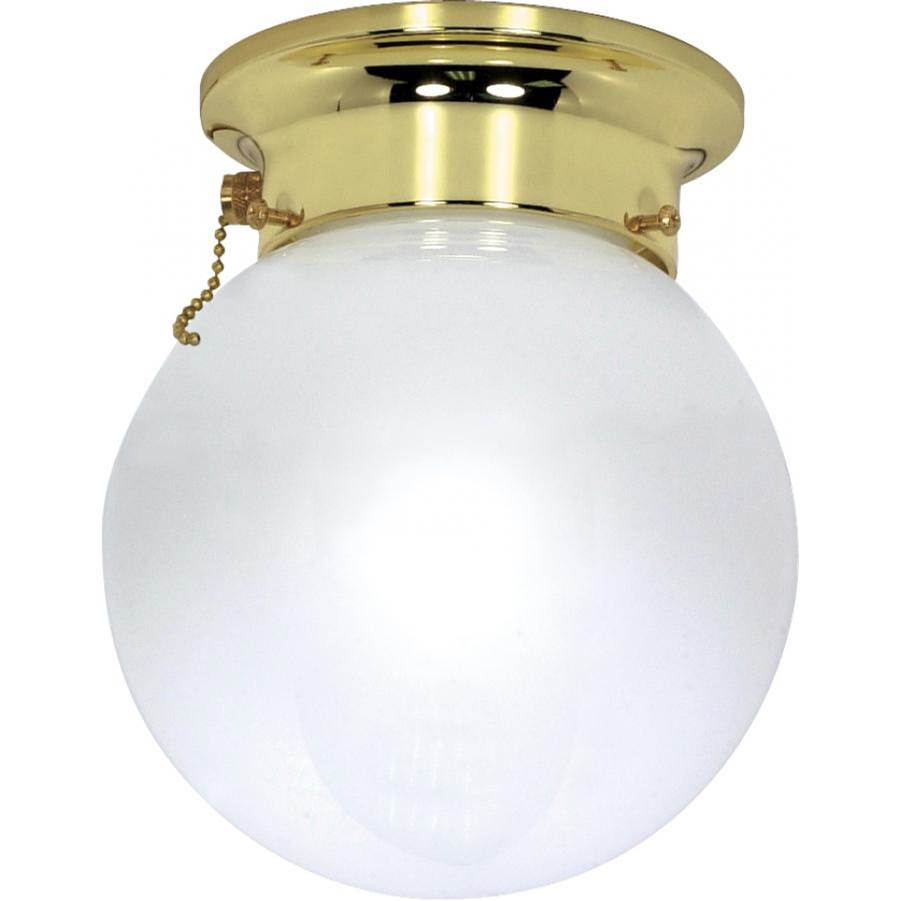 Nuvo 1 Light; 6 in.; Ceiling Mount; White Ball with Pull Chain Switch