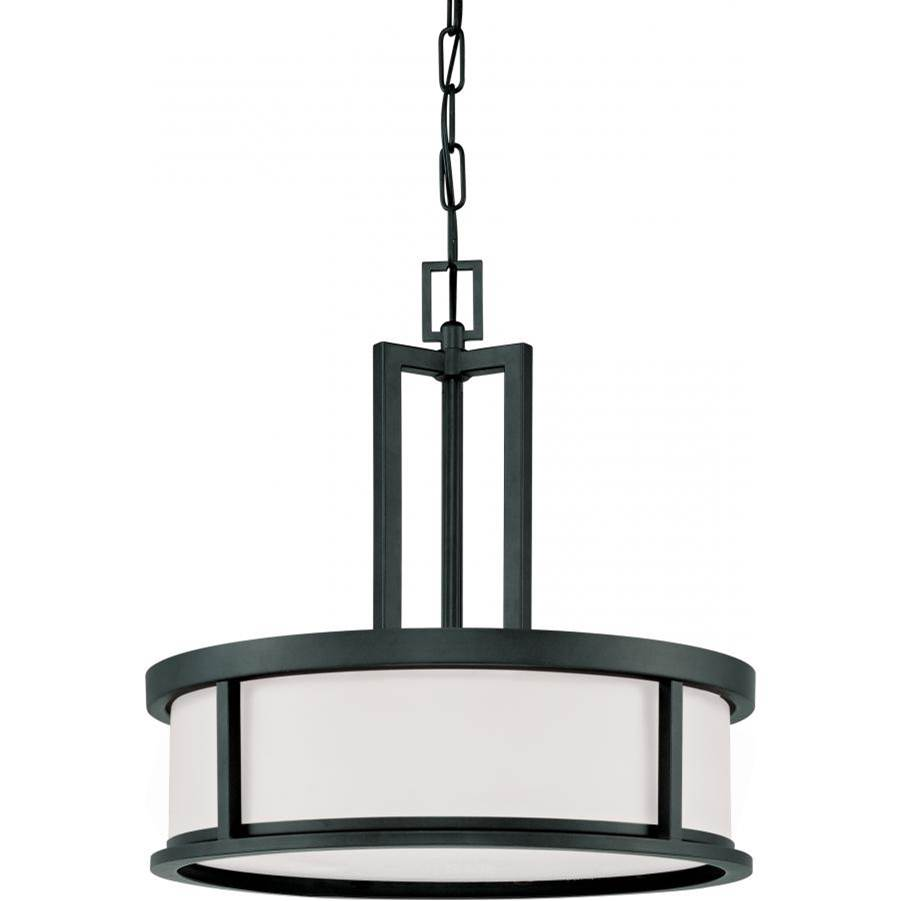 Nuvo Odeon; 4 Light; Pendant with Satin White Glass