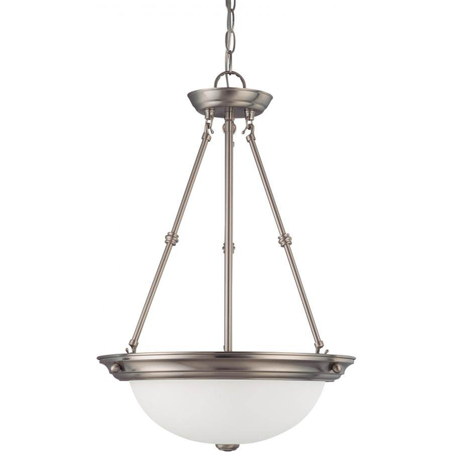 Nuvo 3 Light; 15 in.; Pendant with Frosted White Glass