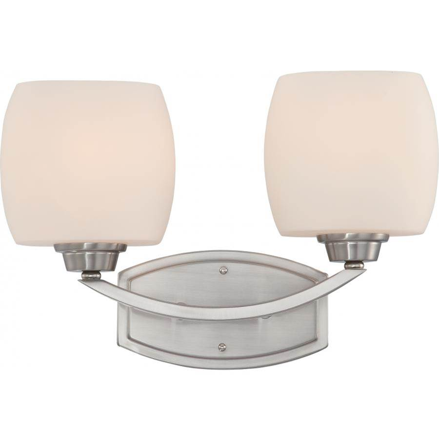 Nuvo Helium; 2 Light; Vanity Fixture with Satin White Glass