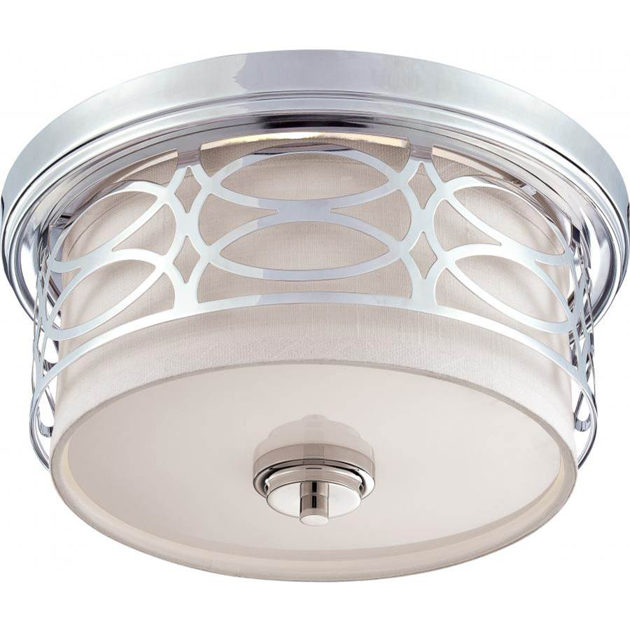 Nuvo Harlow; 2 Light; Flush Dome Fixture with Slate Gray Fabric Shade