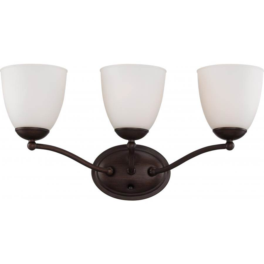 Nuvo Patton; 3 Light; Vanity Fixture with Frosted Glass