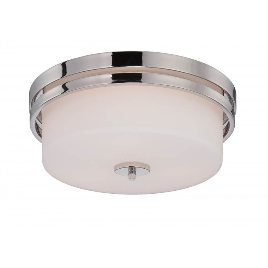 Nuvo Parallel; 3 Light; Flush Fixture with Etched Opal Glass