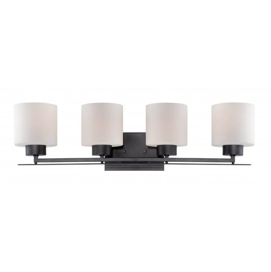 Nuvo Parallel; 4 Light; Vanity Fixture with Etched Opal Glass