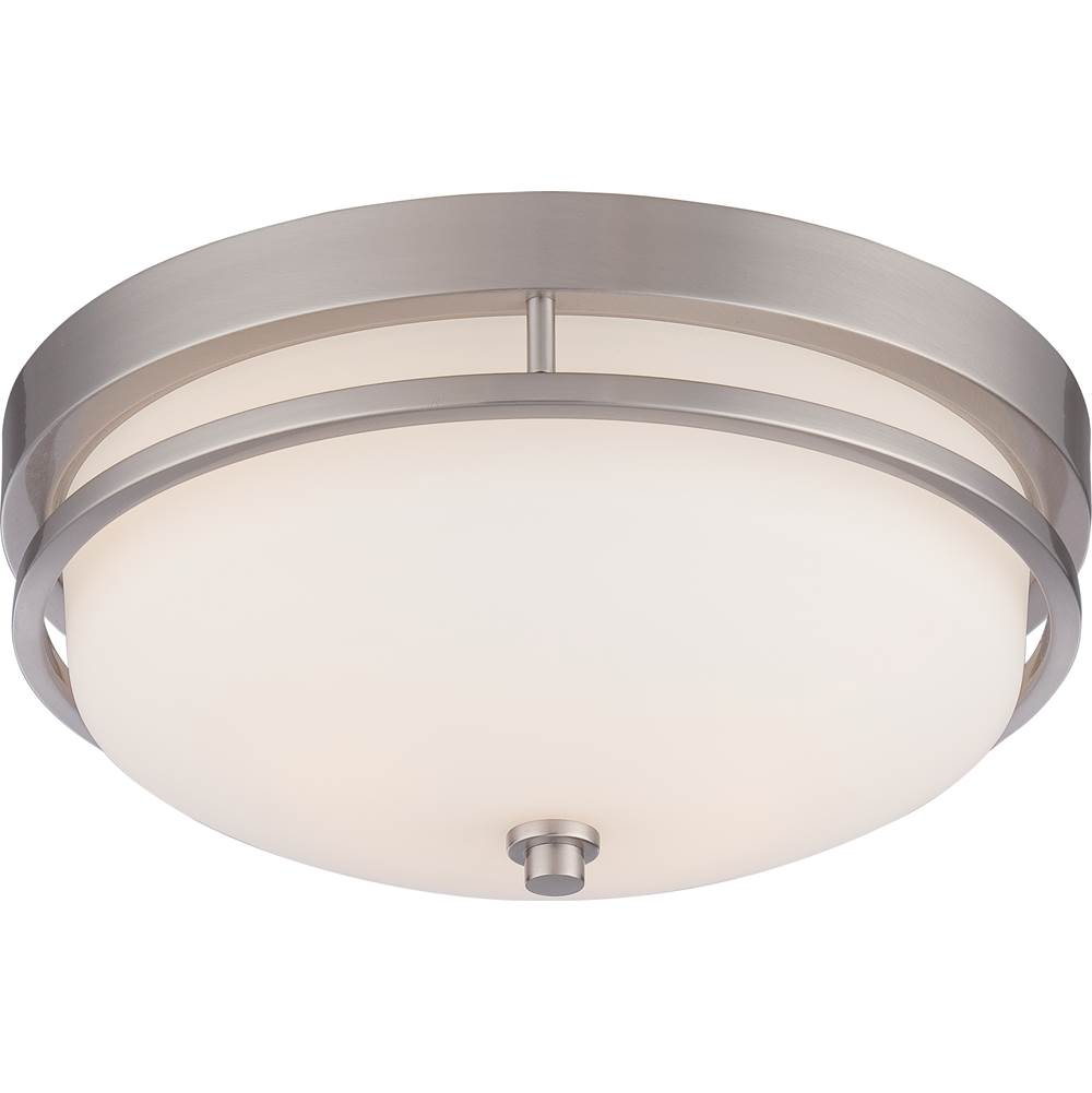 Nuvo Neval; 2 Light; Flush Fixture with Satin White Glass