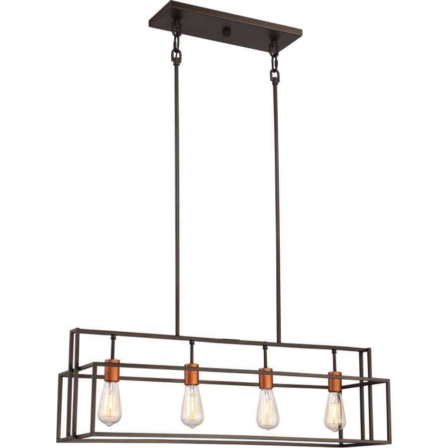 Nuvo Lake; 4 Light; Island Pendant; Bronze with Copper Accents Finish