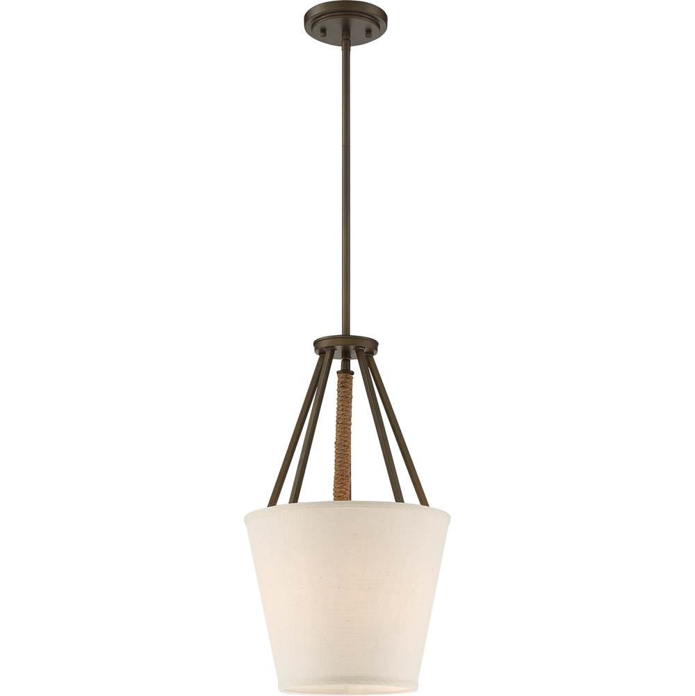 Nuvo 3 Light; Seneca 12 in.; Pendant; Mahogany Bronze Finish with Wrapped Rope; Beige Linen Fabric Shade