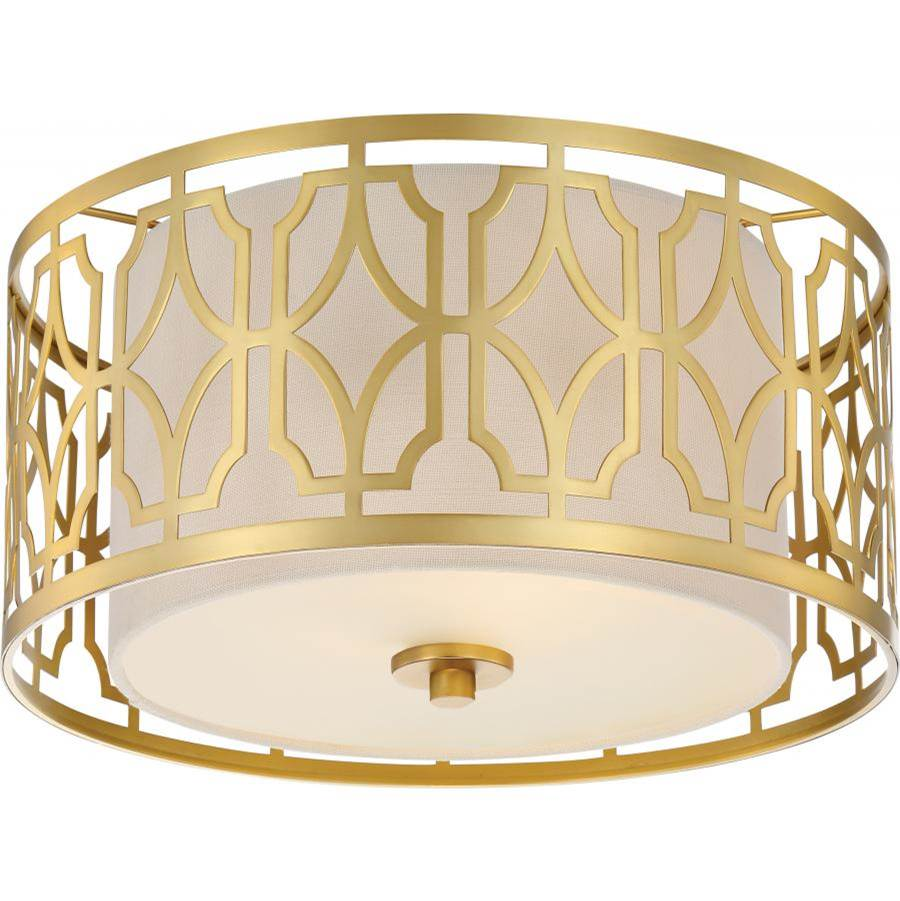 Nuvo Filigree; 2 Light; Flush Mount; Natural Brass Finish; Beige Linen Fabric Shade