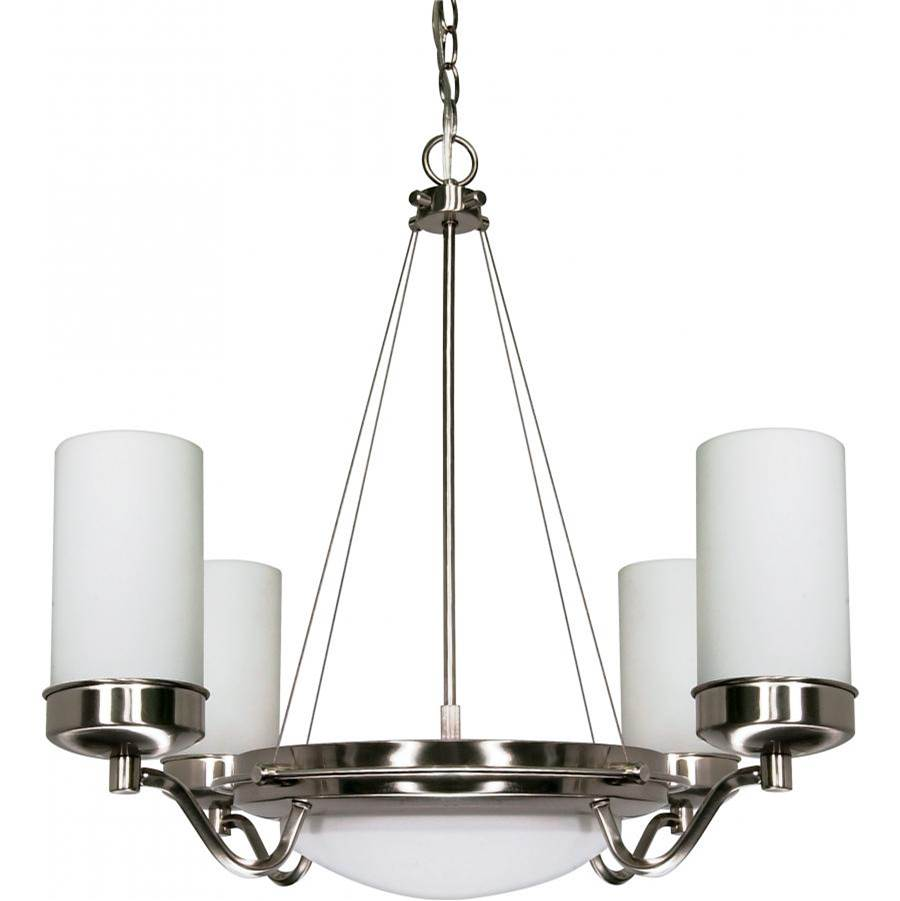 Nuvo Polaris; 6 Light; 29 in.; Chandelier with Satin Frosted Glass Shades