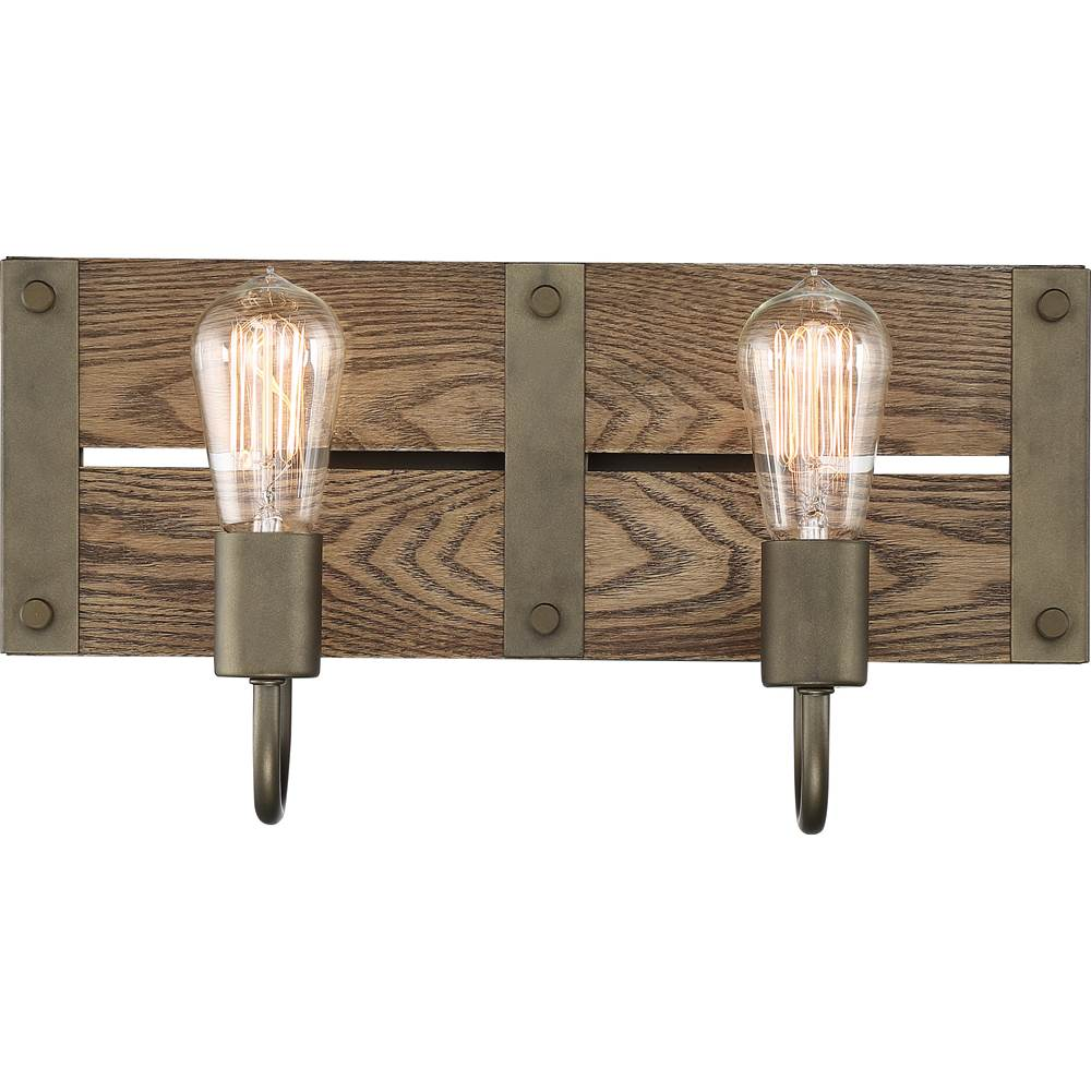 Nuvo Winchester; 2 Light; Vanity; Bronze/Aged Wood Finish